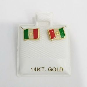 Jewelry - New 14k yellow gold Mexico flag earrings